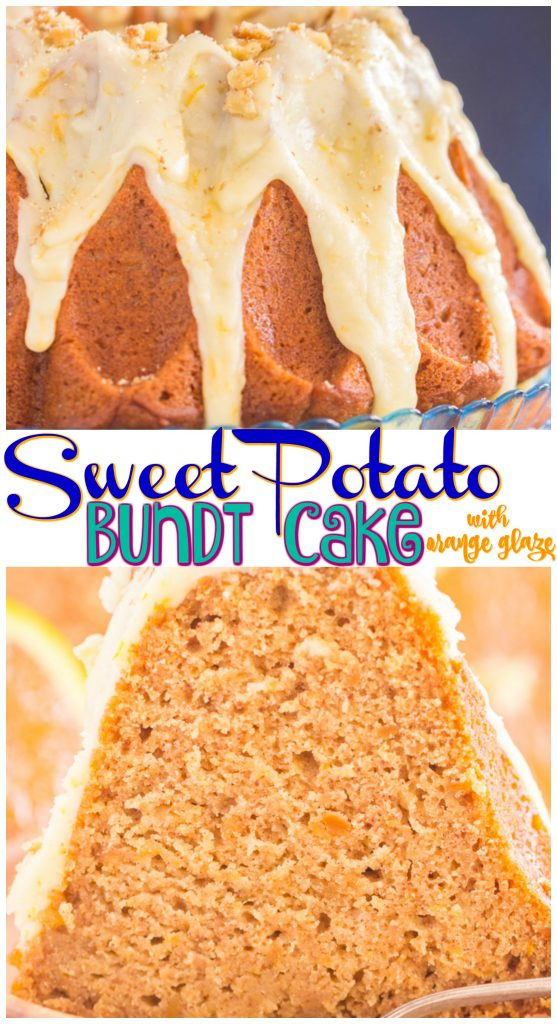 Sweet Potato Bundt Cake with Orange Glaze recipe image thegoldlininggirl.com pin 2