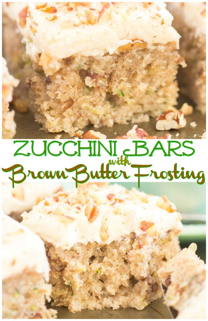 Zucchini Bars with Brown Butter Frosting recipe image thegoldlininggirl.com pin 1