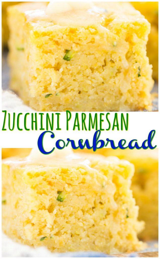 Zucchini Parmesan Cornbread recipe image thegoldlininggirl.com pin 1