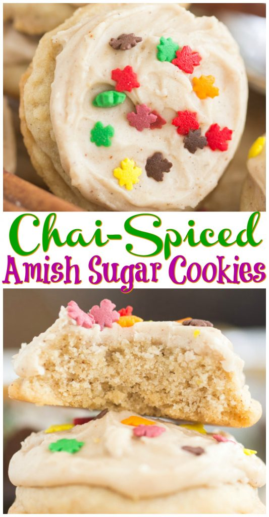 Iced Chai-Spiced Amish Sugar Cookies recipe image thegoldlininggirl.com pin 1