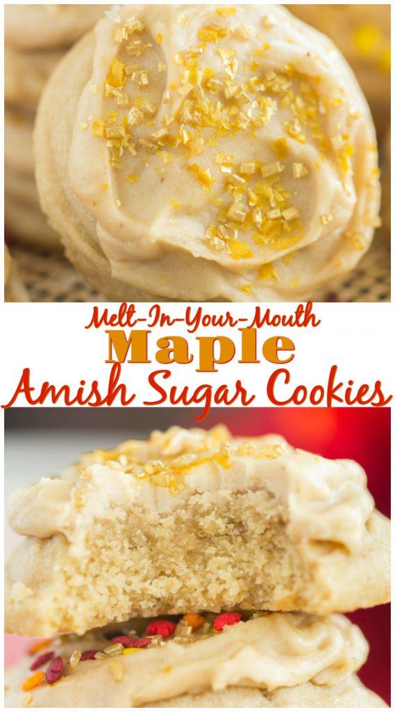 Iced Maple Amish Sugar Cookies recipe image thegoldlininggirl.com long pin 1