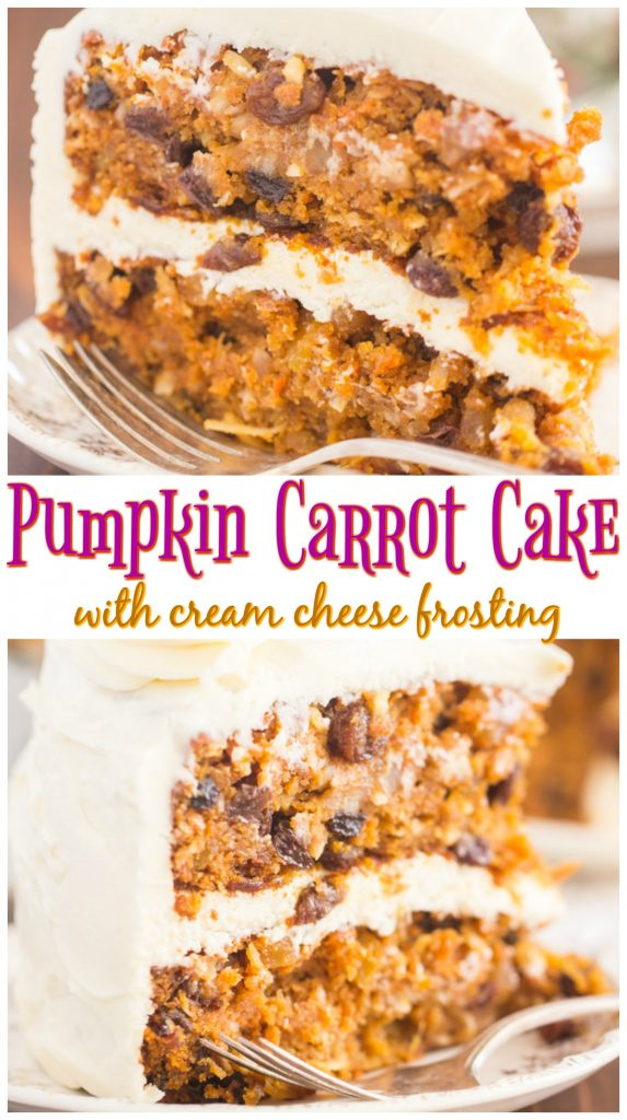 Pumpkin Carrot Cake with Cream Cheese Frosting recipe image thegoldlininggirl.com long pin 1