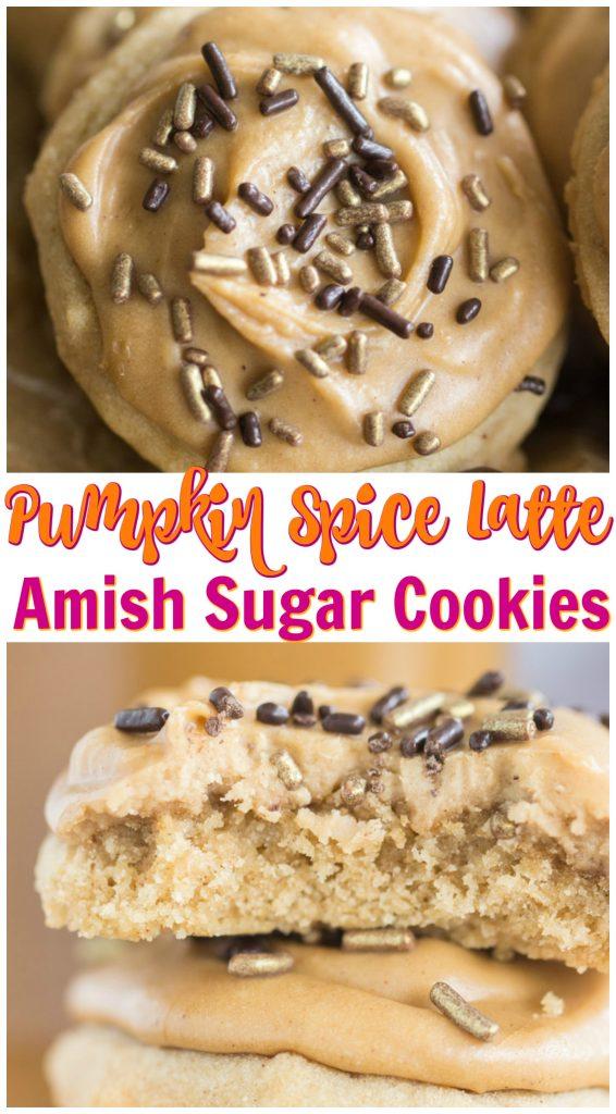 Pumpkin Spice Latte Amish Sugar Cookies recipe image thegoldlininggirl.com pin 1
