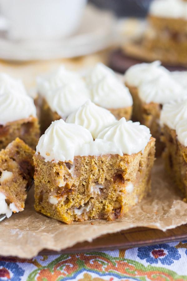 White Chocolate Pumpkin Blondies with Cream Cheese Frosting (9)