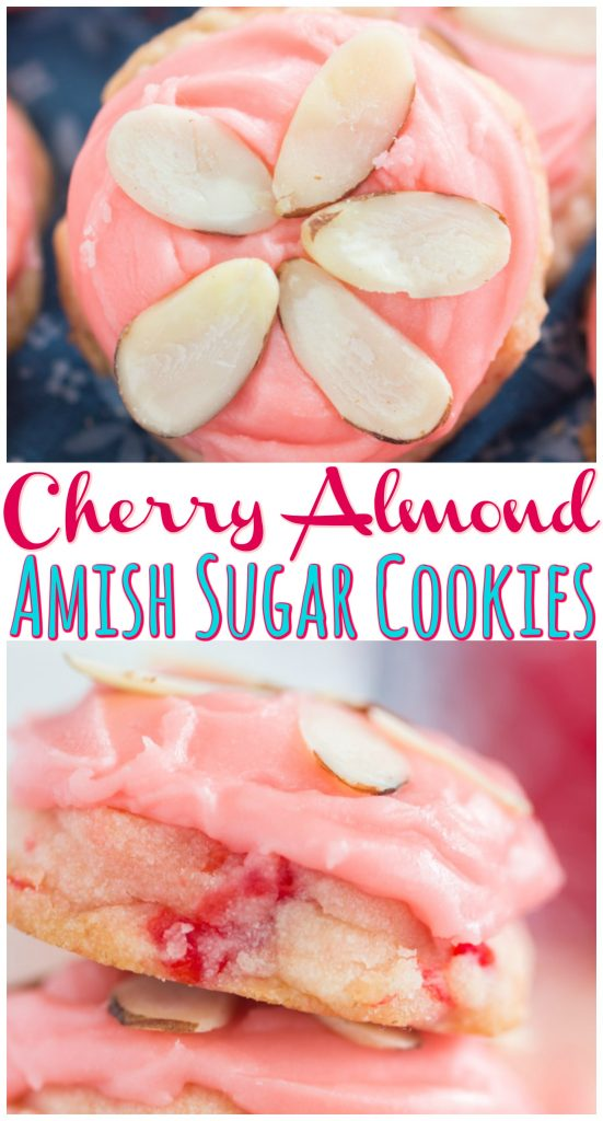 Cherry Almond Amish Sugar Cookies recipe image thegoldlininggirl.com long pin 2