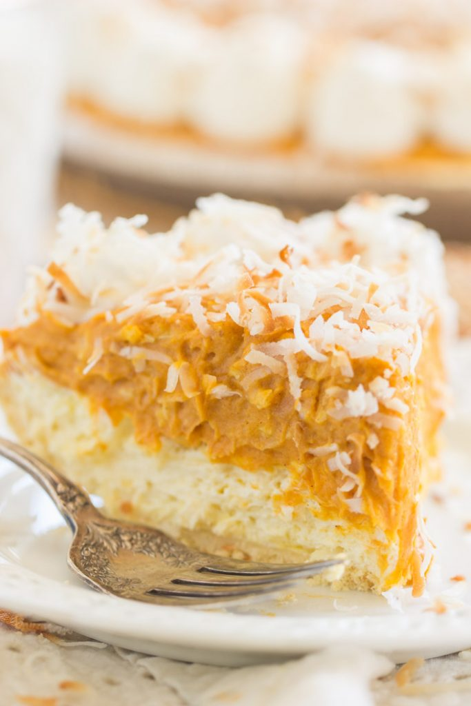 Double Layer No Bake Coconut Pumpkin Cheesecake recipe image thegoldlininggirl.com 10