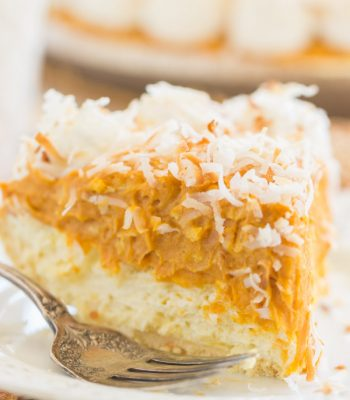 Double Layer No Bake Coconut Pumpkin Cheesecake recipe image thegoldlininggirl.com 600x900 1
