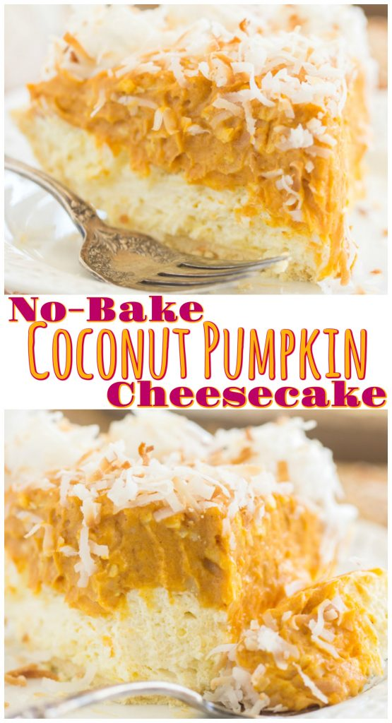 Double Layer No Bake Coconut Pumpkin Cheesecake recipe image thegoldlininggirl.com long pin 3