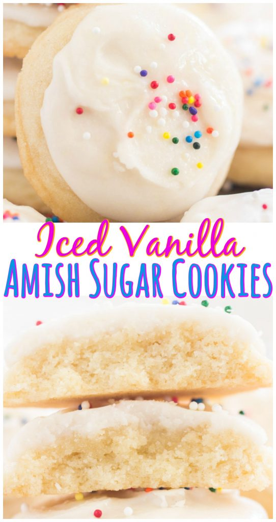 Iced Vanilla Amish Sugar Cookies recipe image thegoldlininggirl.com long pin 2