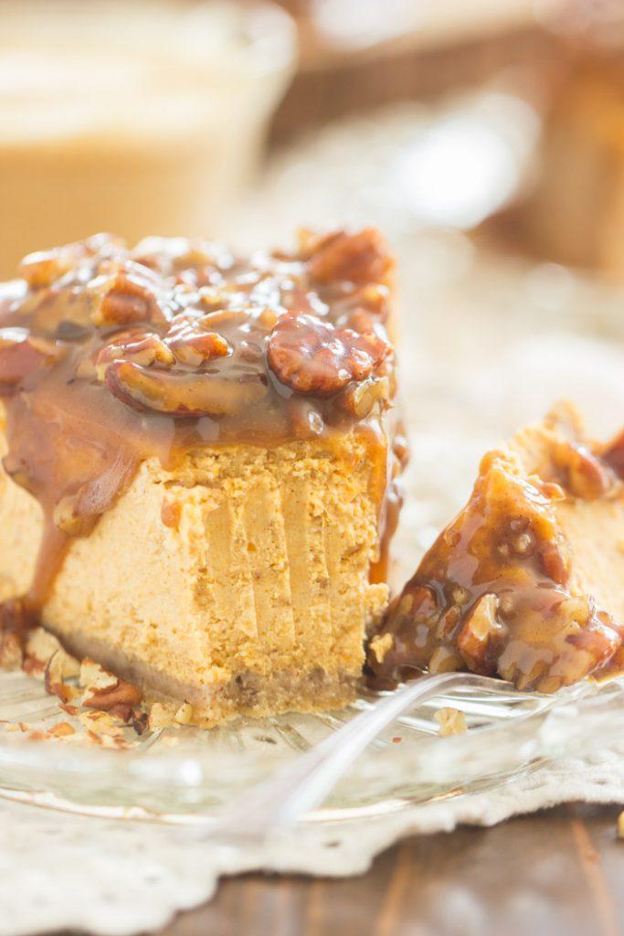 Pecan Pie Pumpkin Cheesecake recipe image thegoldlininggirl.com 16