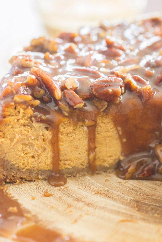 Pecan Pie Pumpkin Cheesecake recipe image thegoldlininggirl.com 21