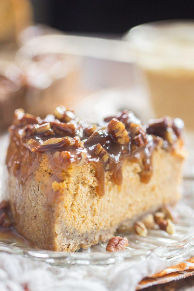 Pecan Pie Pumpkin Cheesecake recipe image thegoldlininggirl.com 8