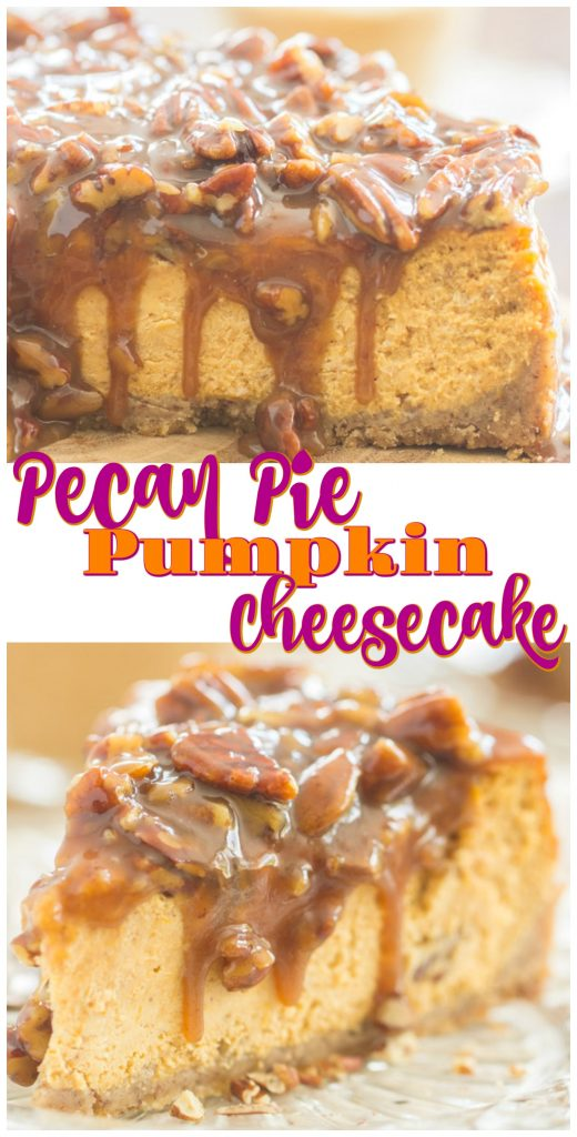 Pecan Pie Pumpkin Cheesecake recipe image thegoldlininggirl.com long pin 2