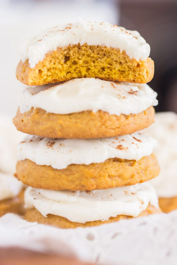 Pumpkin Cookies with Cream Cheese Frosting recipe image thegoldlininggirl.com 16