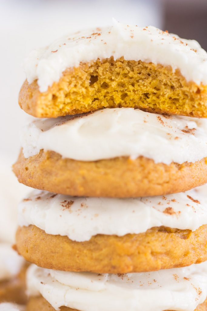 Pumpkin Cookies with Cream Cheese Frosting recipe image thegoldlininggirl.com 17
