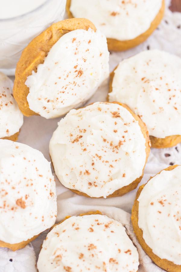 Pumpkin Cookies with Cream Cheese Frosting recipe image thegoldlininggirl.com 600x900 1