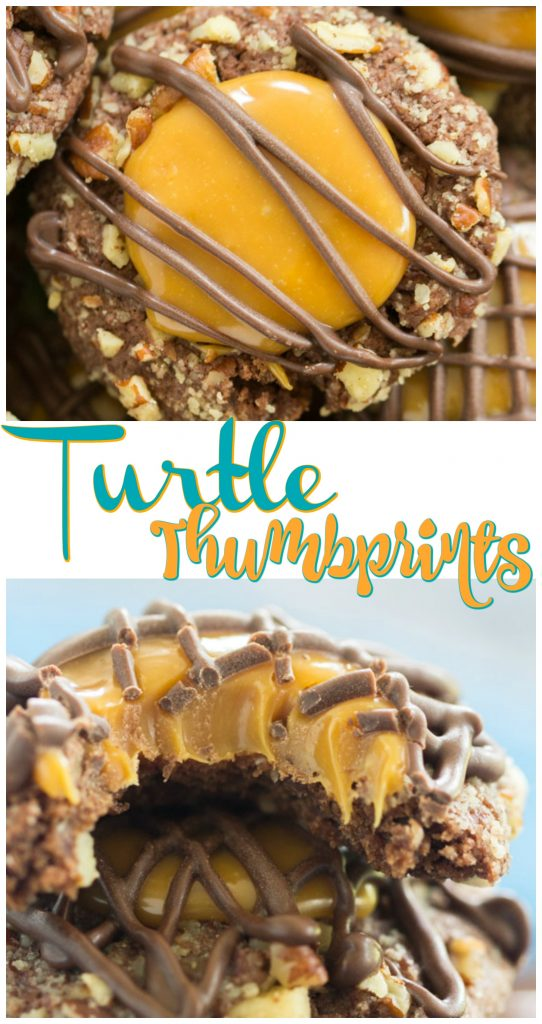 Turtle Thumbprint Cookies recipe image thegoldlininggirl.com long pin 3
