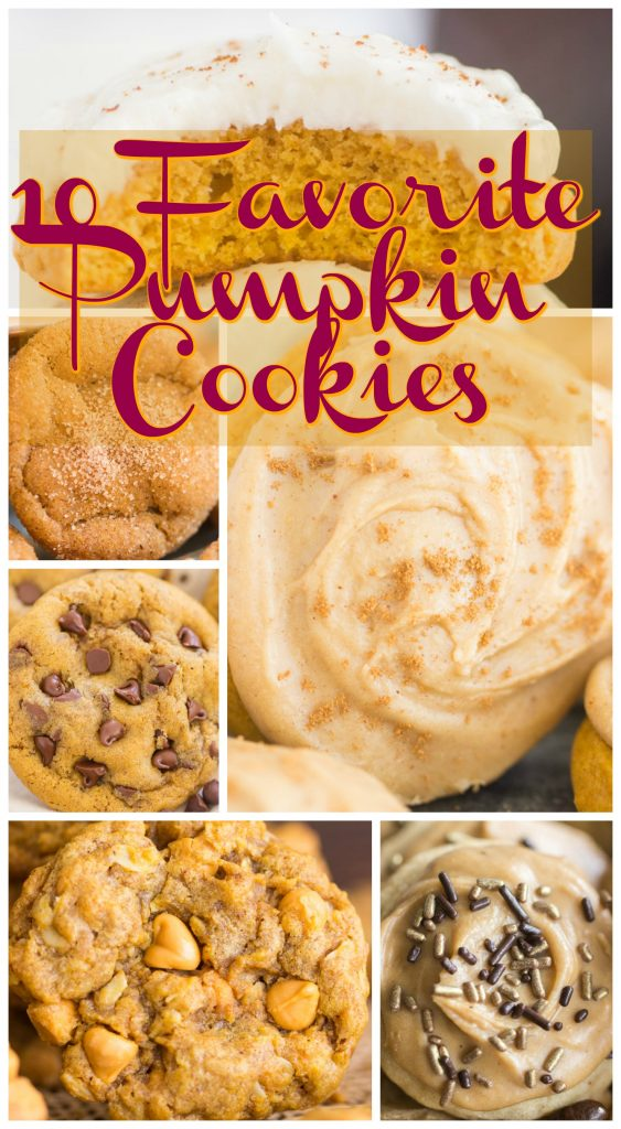 10 Favorite Pumpkin Cookie recipes collage image thegoldlininggirl.com long pin 1
