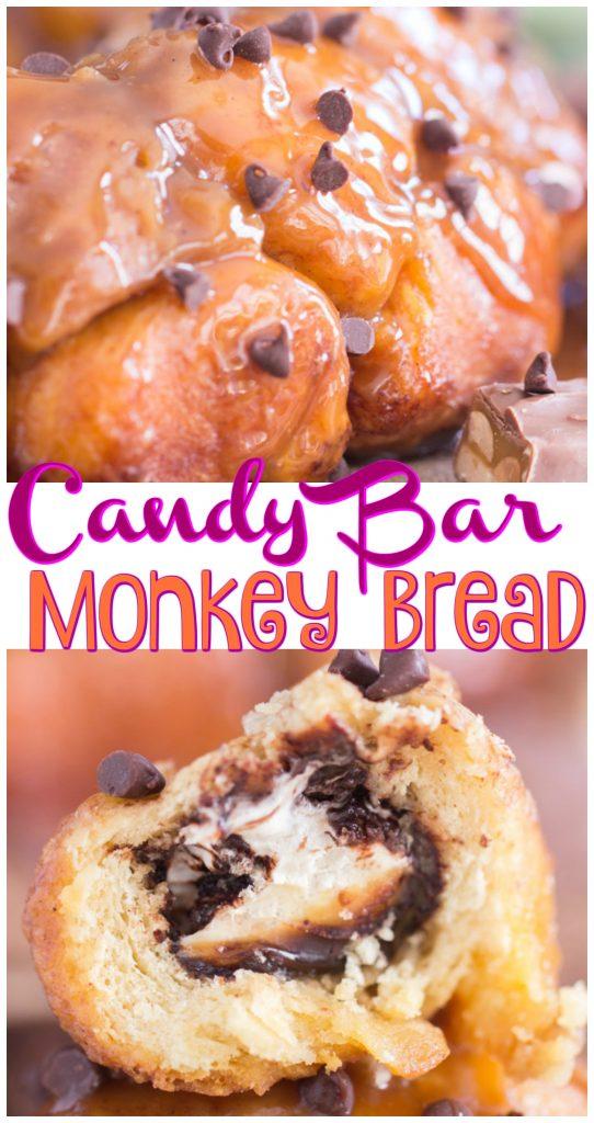 Candy Bar Monkey Bread recipe image thegoldlininggirl.com long pin 3
