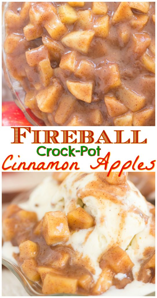Fireball Crock-Pot Cinnamon Apples recipe image thegoldlininggirl.com long pin 1