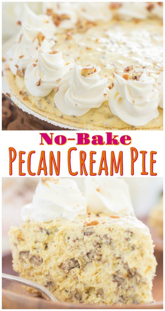 No Bake Pecan Cream Pie recipe image thegoldlininggirl.com long pin 4