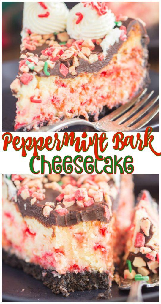 Peppermint Bark Cheesecake recipe image thegoldlininggirl.com long pin 3