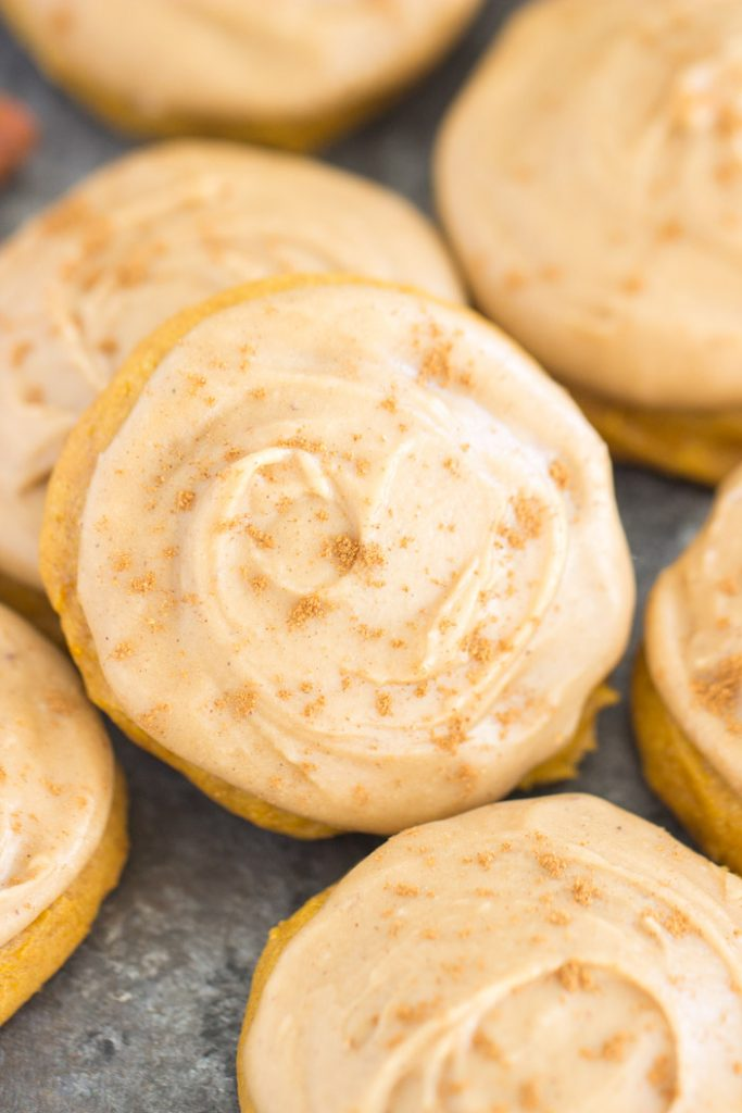 Pumpkin Cookies with Maple Frosting recipe image thegoldlininggirl.com 9
