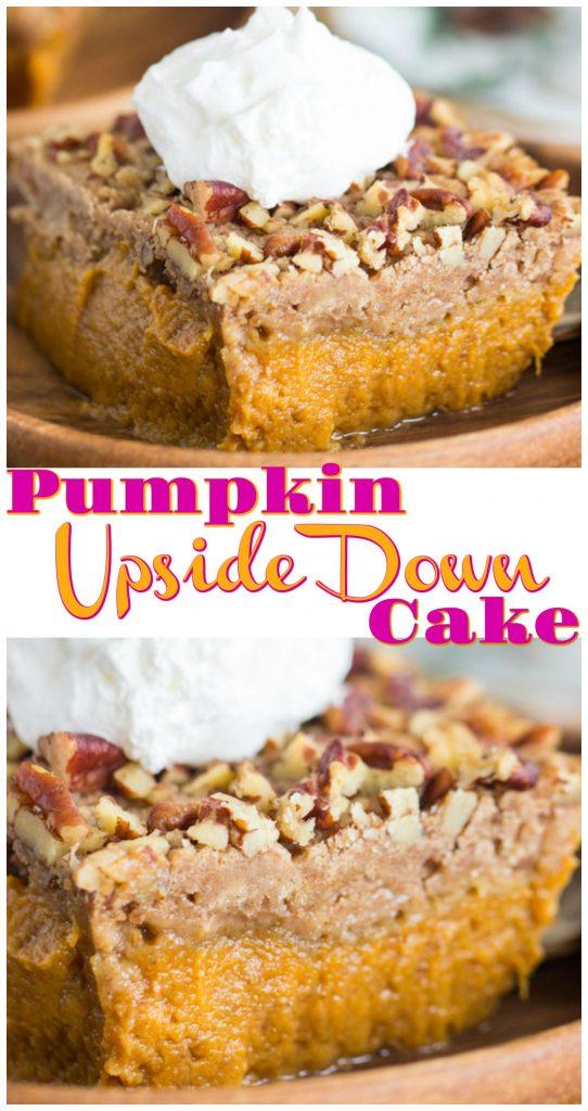 Pumpkin Upside Down Cake recipe image thegoldlininggirl.com long pin 3