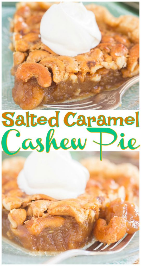 Salted Caramel Cashew Pie recipe image thegoldlininggirl.com long pin 2