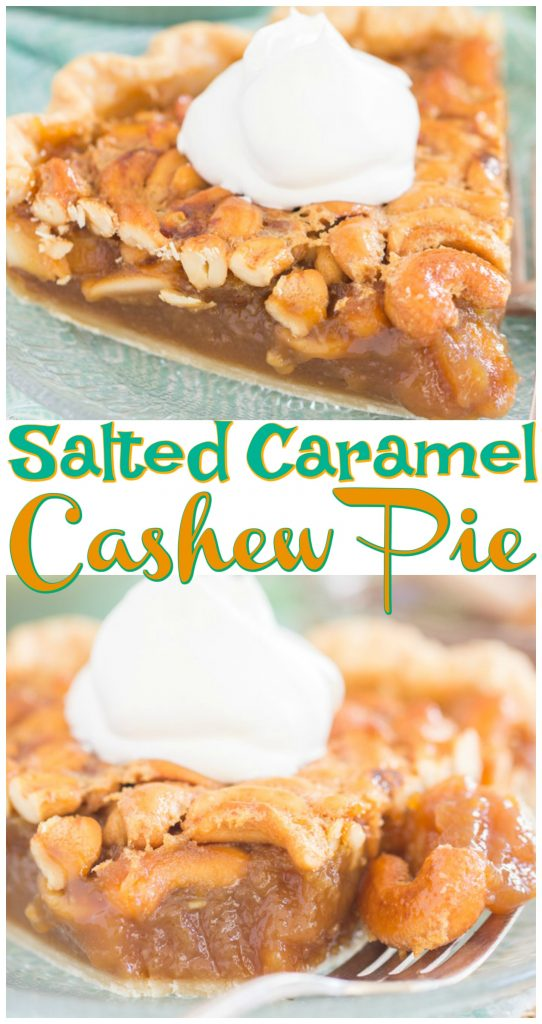 Salted Caramel Cashew Pie recipe image thegoldlininggirl.com long pin 5