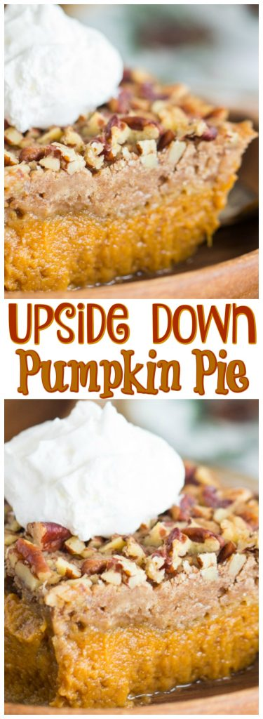 Upside Down Pumpkin Pie recipe image thegoldlininggirl.com pin 2