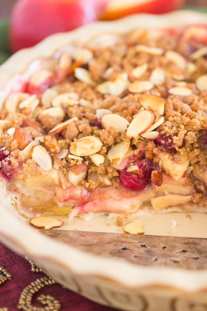 Cranberry Apple Pie with Almond Streusel recipe image thegoldlininggirl.com 13