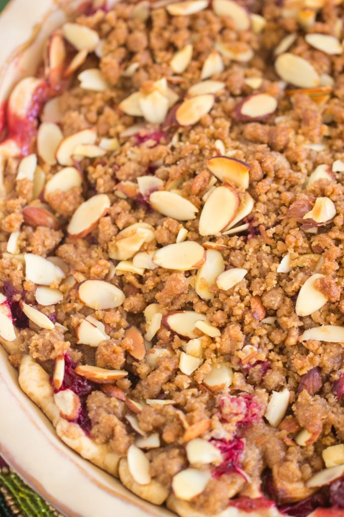 Cranberry Apple Pie with Almond Streusel recipe image thegoldlininggirl.com 4