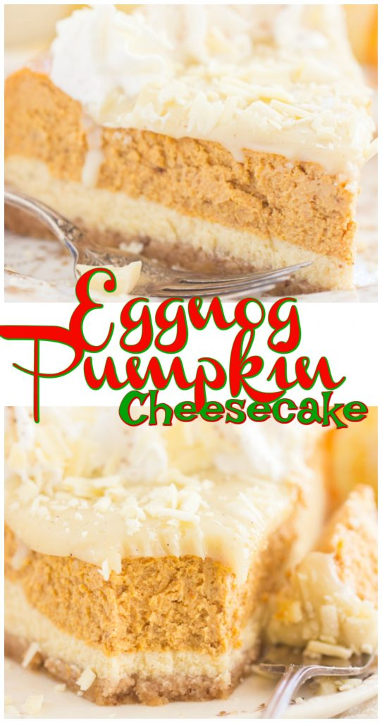 Double Layer Eggnog Pumpkin Cheesecake recipe image thegoldlininggirl.com long pin 2