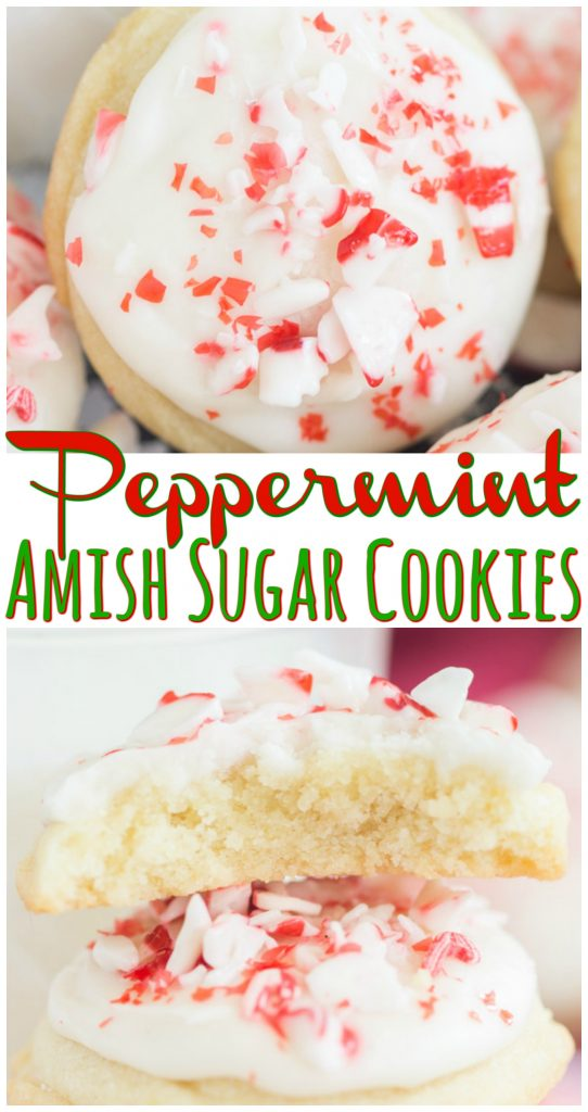 Peppermint Amish Sugar Cookies recipe image thegoldlininggirl.com long pin 4