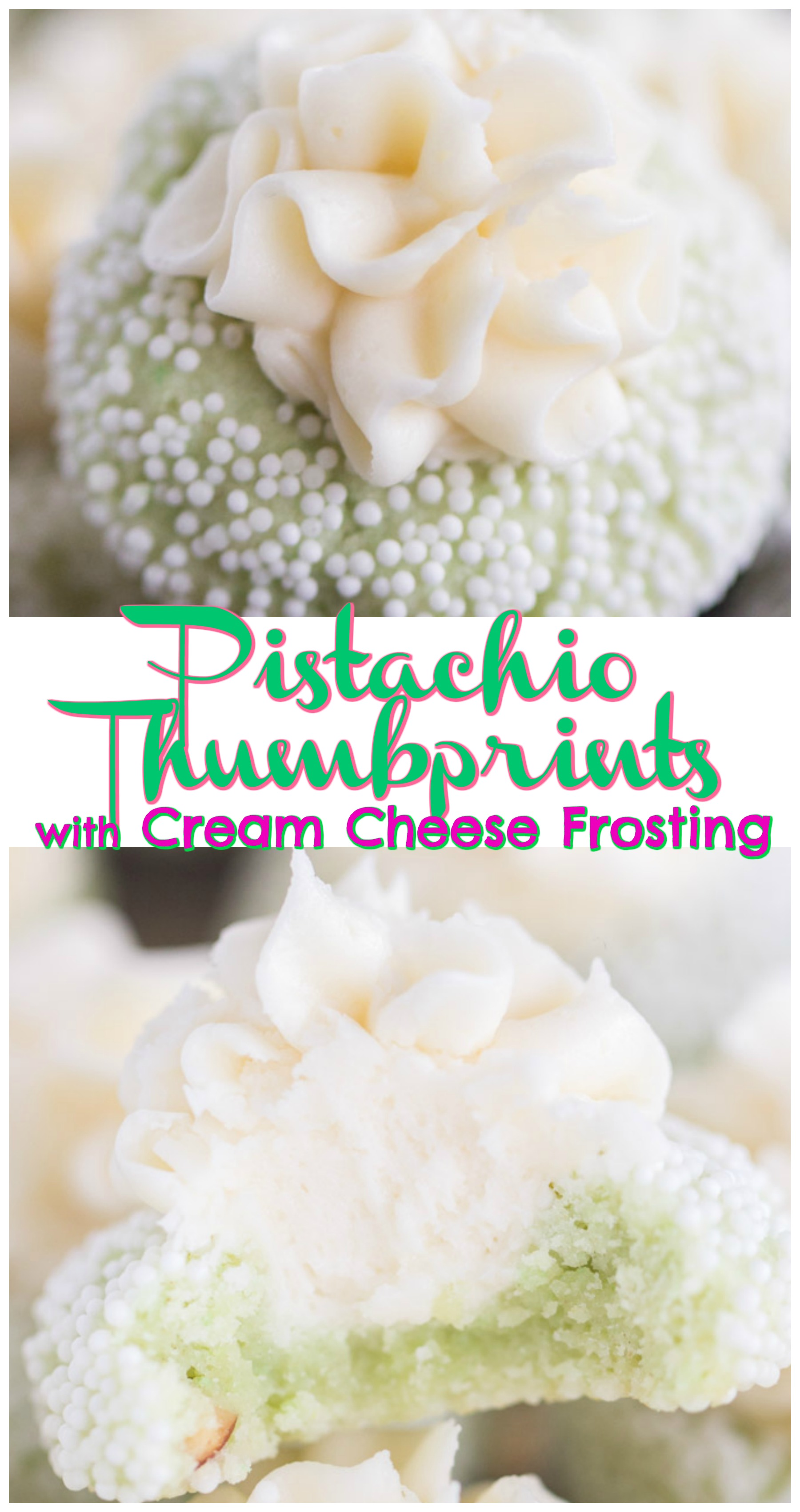 Thumbprint Pistachio Cookies With Cream Cheese Frosting