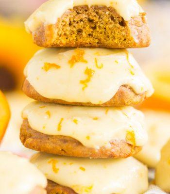 Pumpkin Cookies with Orange Icing
