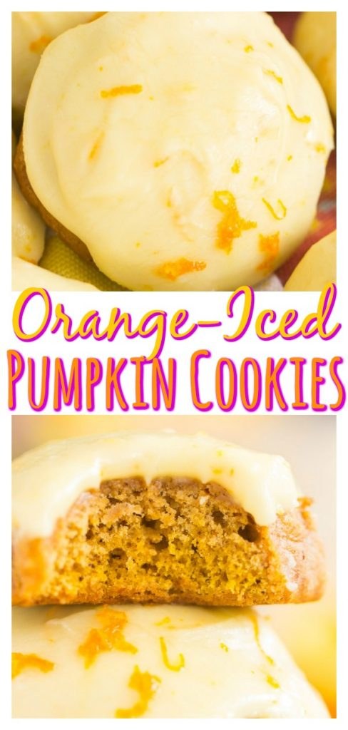 Pumpkin Cookies with Orange Icing