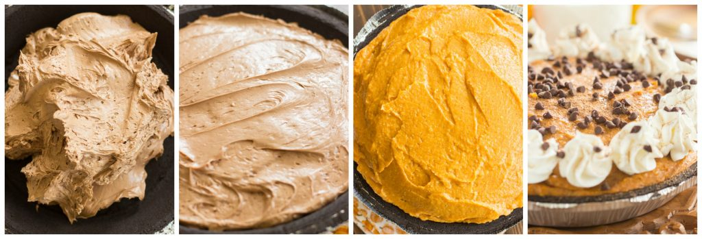 No Bake Double Layer Chocolate Pumpkin Cheesecake recipe