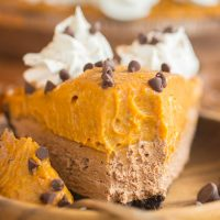 No Bake Double Layer Chocolate Pumpkin Pie recipe