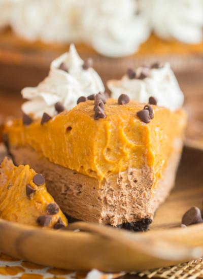 No Bake Double Layer Chocolate Pumpkin Pie recipe
