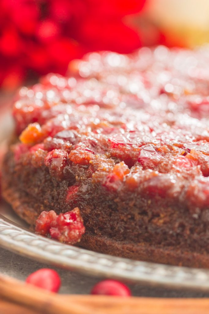 Cranberry Gingerbread Upside Down Cake