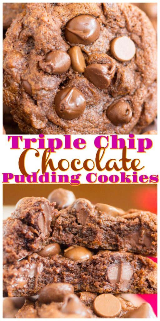 Soft & Fudgy Triple Chocolate Chip Pudding Cookies