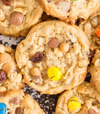 Trail Mix Peanut Butter Oatmeal Cookies recipe