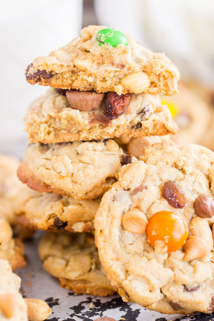 Trail Mix Peanut Butter Oatmeal Cookies