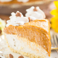 No Bake Double Layer Chai Pumpkin Cheesecake