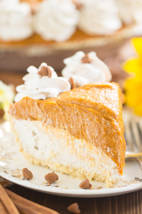 No Bake Double Layer Chai Pumpkin Cheesecake