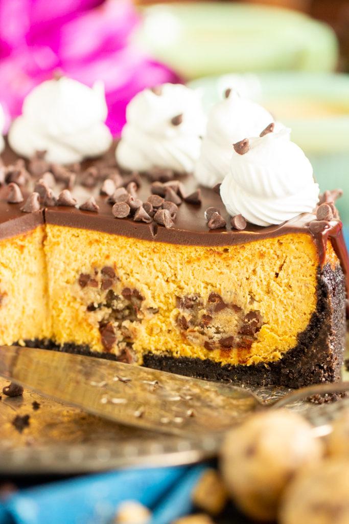 Chocolate Chip Cookie Dough Pumpkin Cheesecake recipe