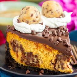 Chocolate Chip Cookie Dough Pumpkin Cheesecake