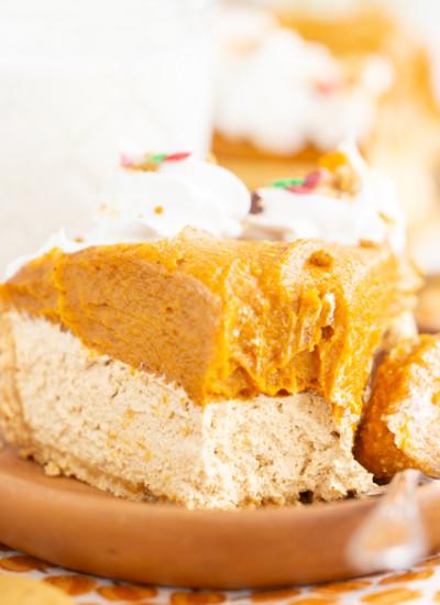 No Bake Pumpkin Gingerbread Cheesecake
